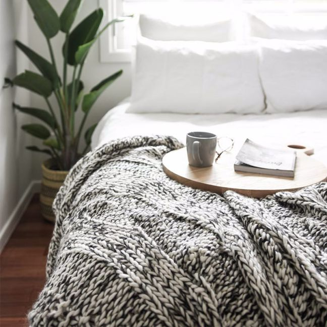 Claudette Chunky Knit Throw | Black & Ivory | by Collective Sol