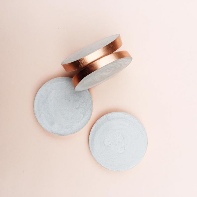 Concrete Coasters | Copper Edged | Set of 6 Coasters