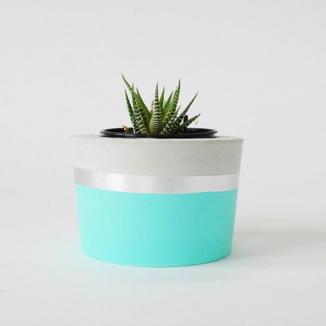 Concrete Planter | Spearmint & Silver | by Coral and Herb