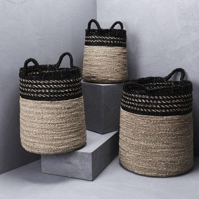 Contrast Top and Black Handle Basket l Pre Order