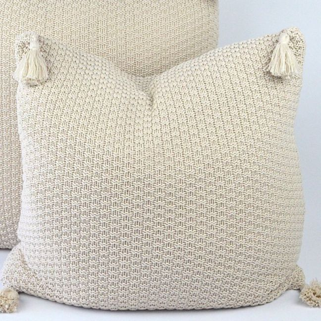 Cotton Knit Cushion Cover with Tassels
