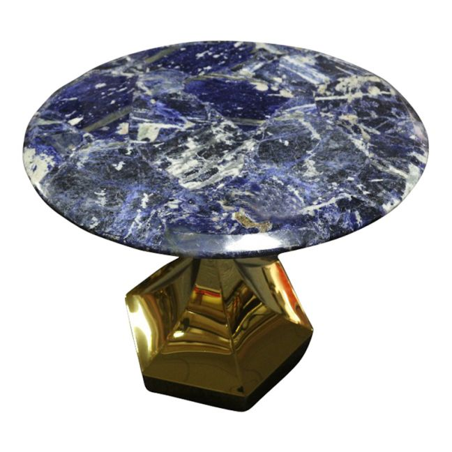 Dapper Solidate Blue Jasper Accent Table with Gold Metal Hexagon Base