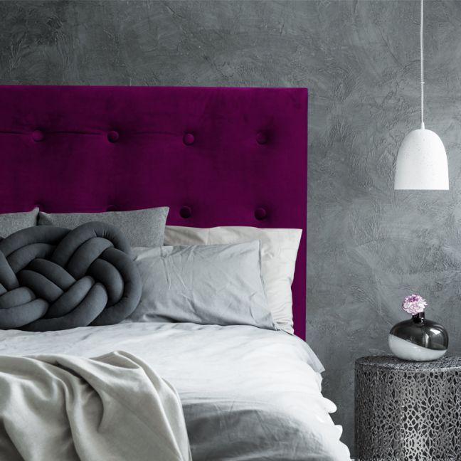 Deep Purple Velvet Buttoned Bedhead | All Sizes | Custom Made by Martini Furniture