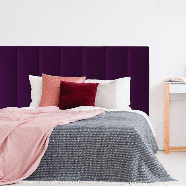 Deep Purple Velvet Panelled Upholstered Bedhead   All Sizes   Custom Made by Martini Furniture