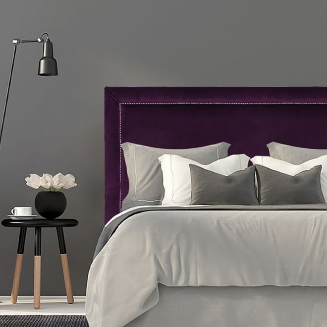 Deep Purple Velvet Studded Upholstered Bedhead   All Sizes   Custom Made by Martini Furniture