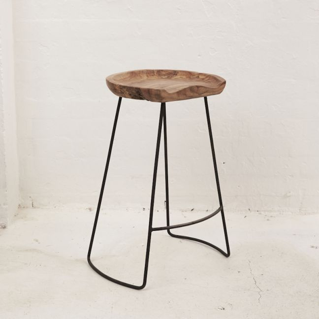 Demir Shaped Bar Stool With Iron Legs TALL   Pre Order