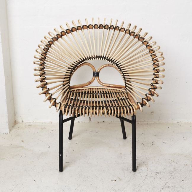 Diia Rattan Armchair in Natural with Black Trim l Custom Made