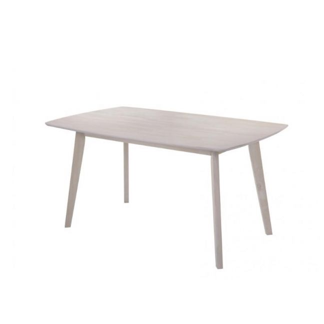 Dining Table   Solid Rubberwood   Scandinavian White Washed   Seating For 6