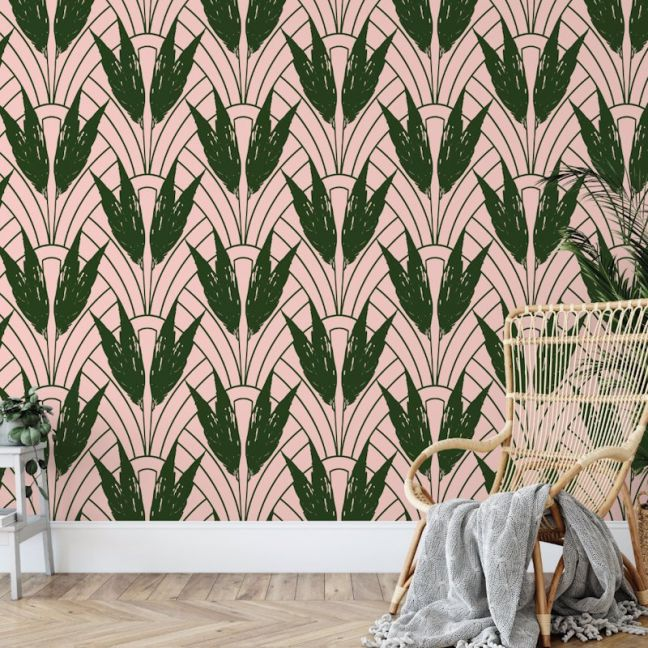 Dolores - Nature's Glamour Collection | Eco Wallpaper | Dolores Blush Pink Green | Amba Florette