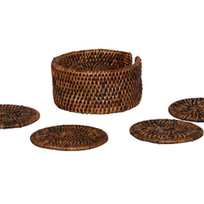 Drink Coaster set of 6 in handwoven rattan   Brown by SATARA