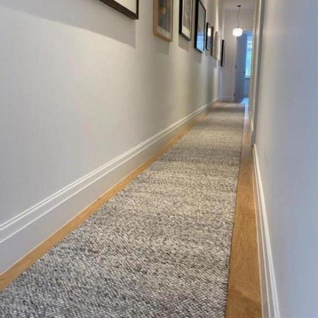 Dropletts Handmade Wool Hall Runner   Light Grey   Custom Length   Preorder Late October 2021