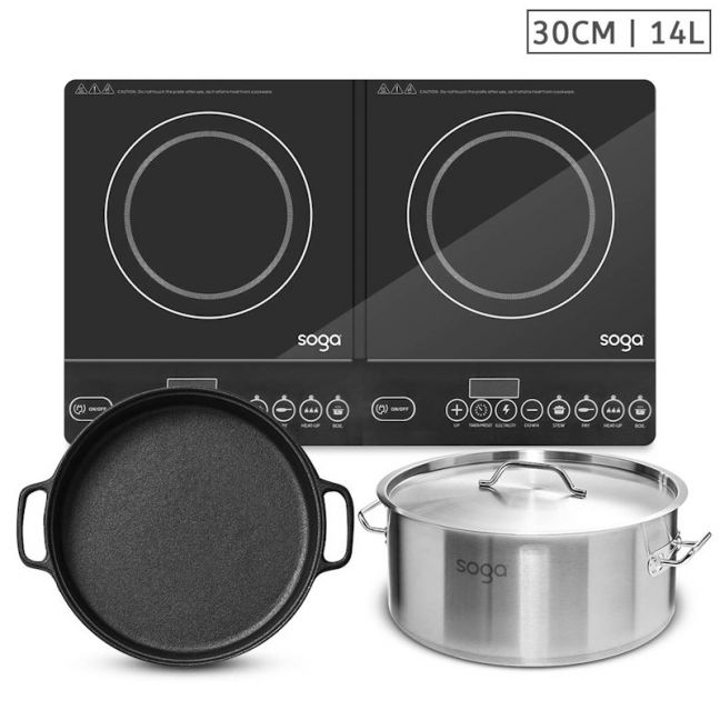 Dual Burner Induction Cooktop | 30cm Cast Iron Skillet | 14L Stainless Steel Stockpot