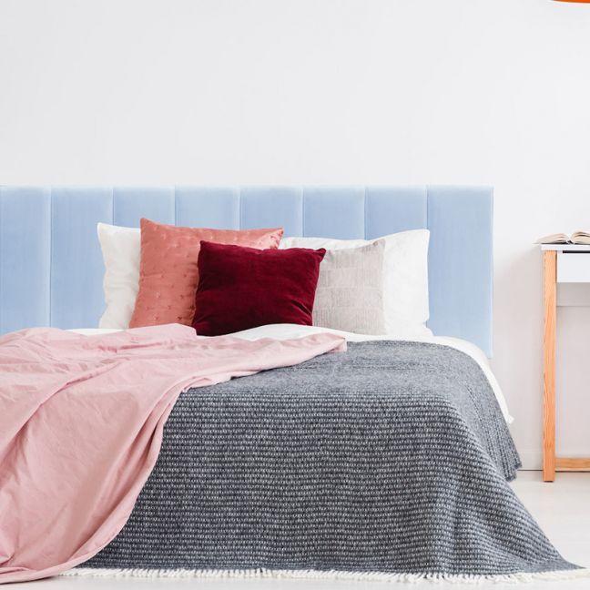 Duck Egg Blue Velvet Panelled Upholstered Bedhead | All Sizes | Custom Made by Martini Furniture