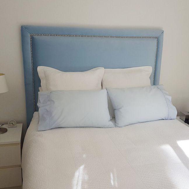 Duck Egg Blue Velvet Studded Upholstered Bedhead   All Sizes   Custom Made by Martini Furniture
