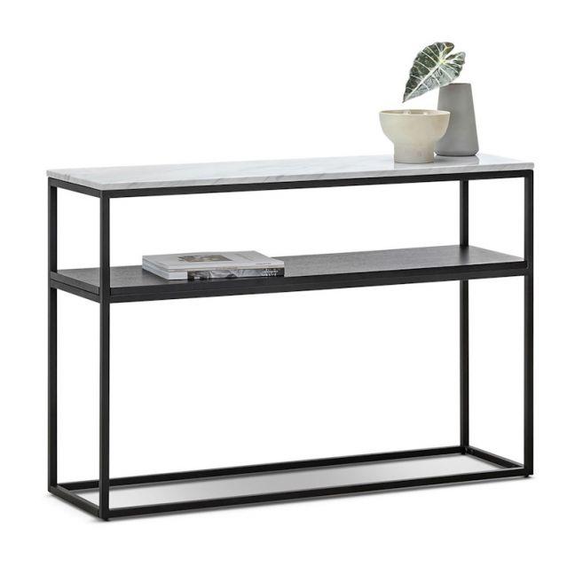 Ebonie White Marble 120cm Console Table | Black