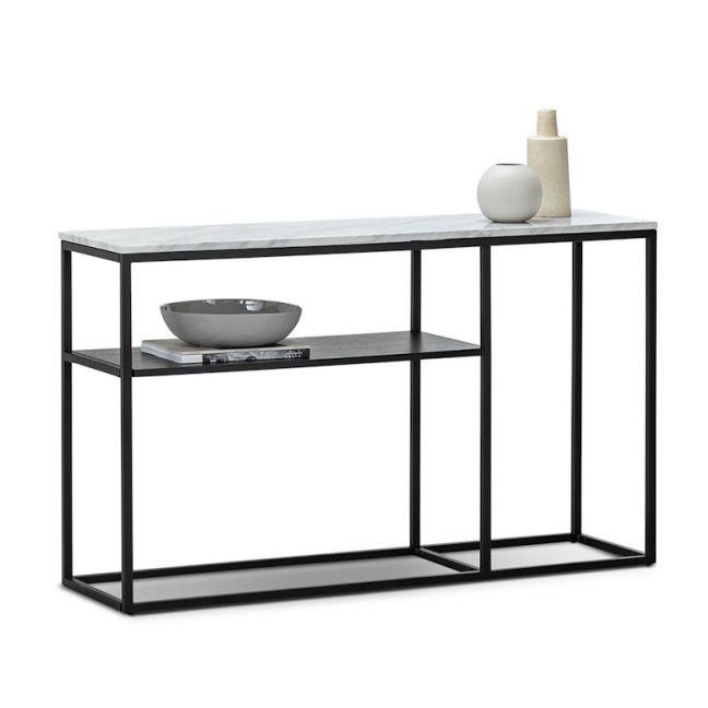 Ebonie White Marble 130cm Console Table | Black