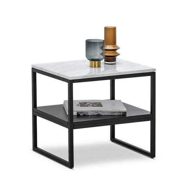 Ebonie White Marble Square Side Table | Black