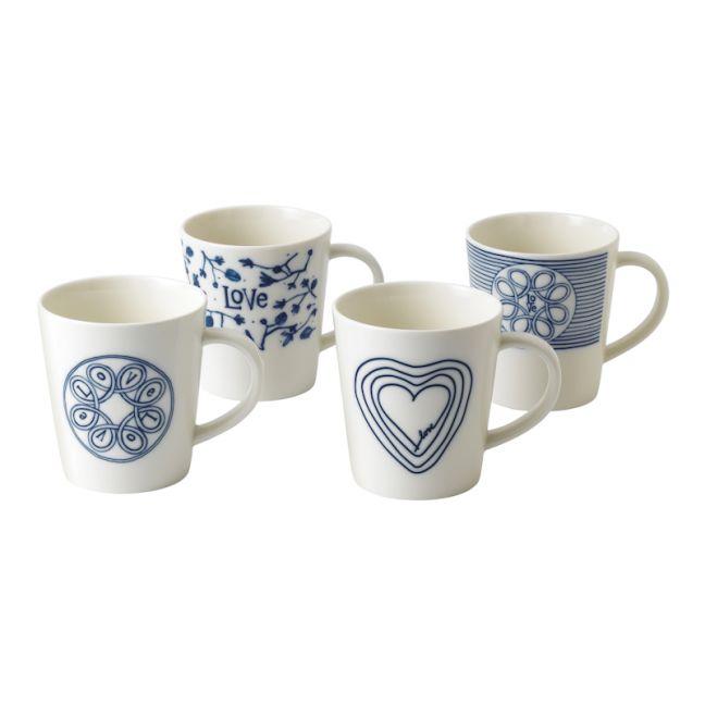 ED Ellen DeGeneres - Mug 450ml Blue Love Set of 4