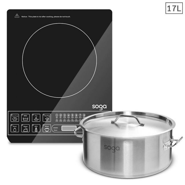 Electric Smart Induction Cooktop   17L Stainless Steel Stockpot