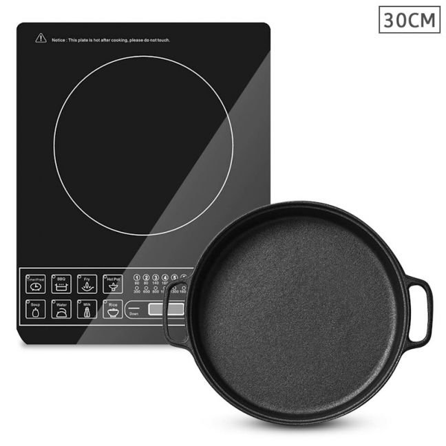 Electric Smart Induction Cooktop   30cm Cast Iron Frying Pan