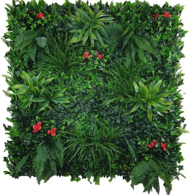 Elegant Red Rose Vertical Garden   Green Wall UV Resistant Sample