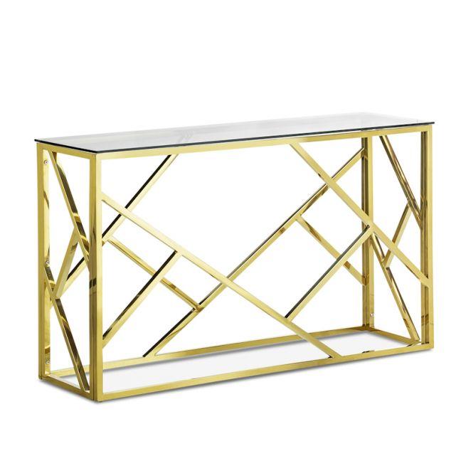 Elena Geo Console Table   Polished Gold