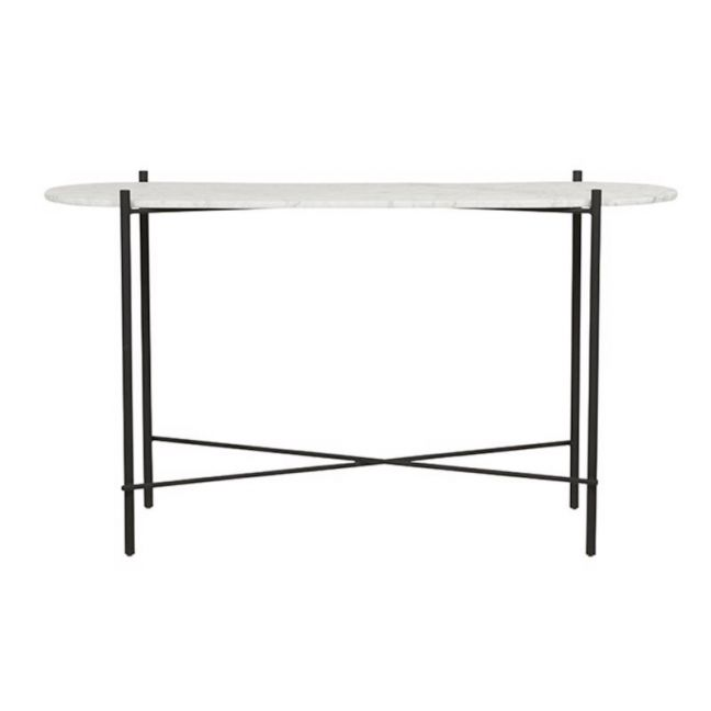 Elle Pipe Oval Console Table | White Mable | Pre Order