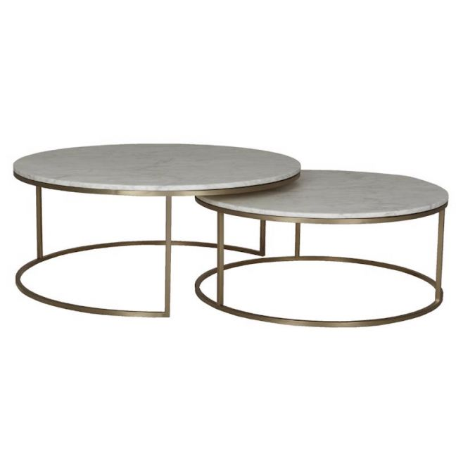 Elle Round Nest Marble Coffee Table Set   Matte White / Brushed Gold   Pre Order