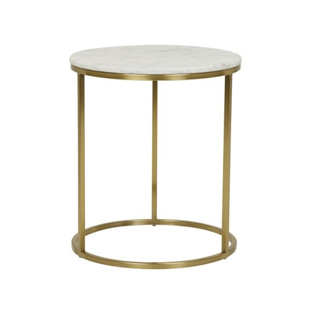 Elle Round Side Table   Marble   Matte White / Brushed Gold   Pre Order