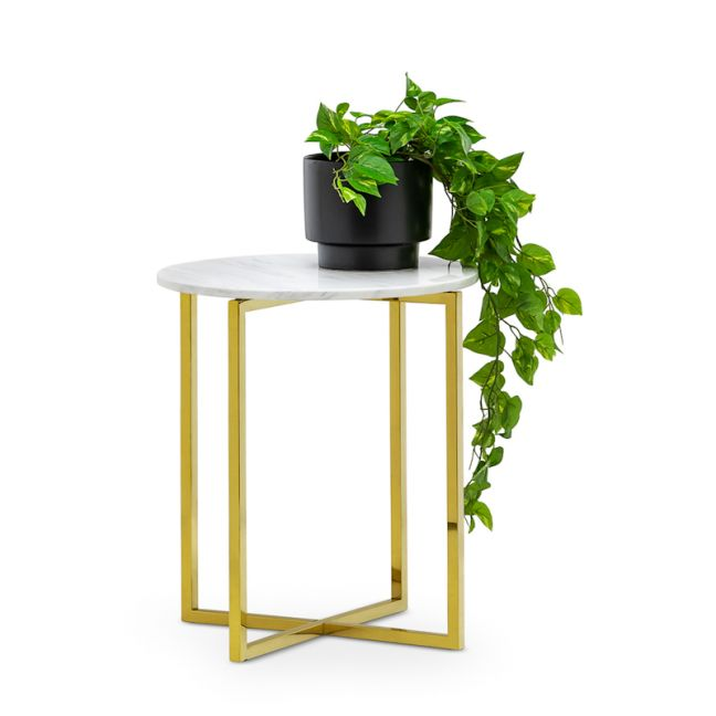 Ellie Marble Round Side Table   White & Polished Gold