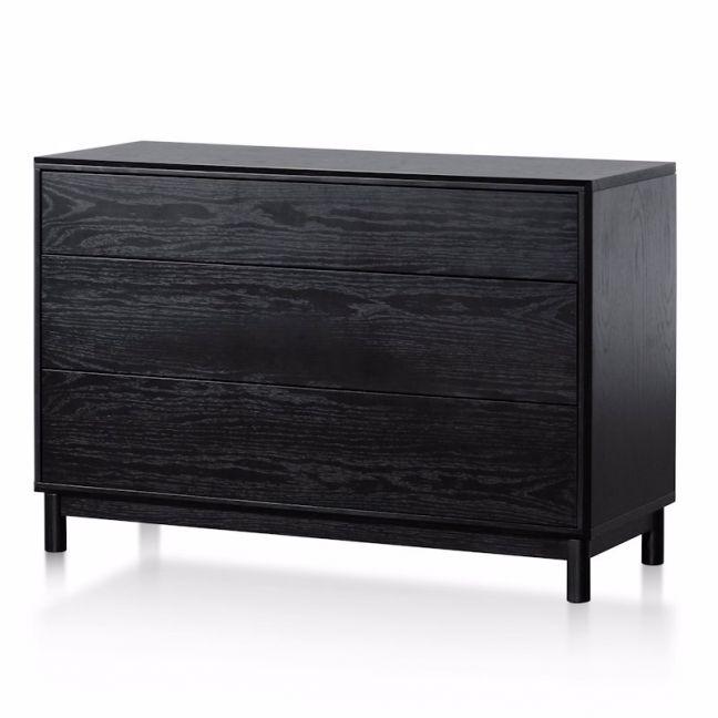 Eloise 3 Drawers Dresser Unit   Black Oak