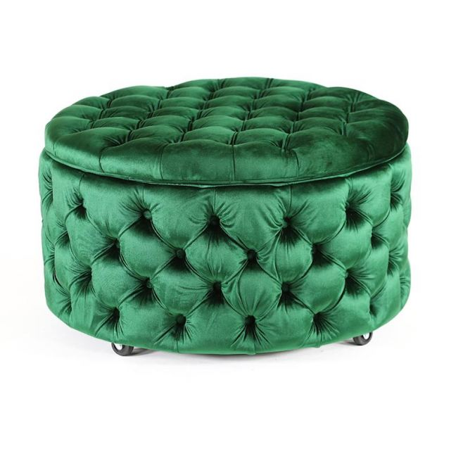 Emma Storage Ottoman Large | Emerald | by Black Mango