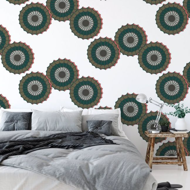 Emokpaire - African Dreams | Eco Wallpaper | Green with a hint of Coral | Amba Florette