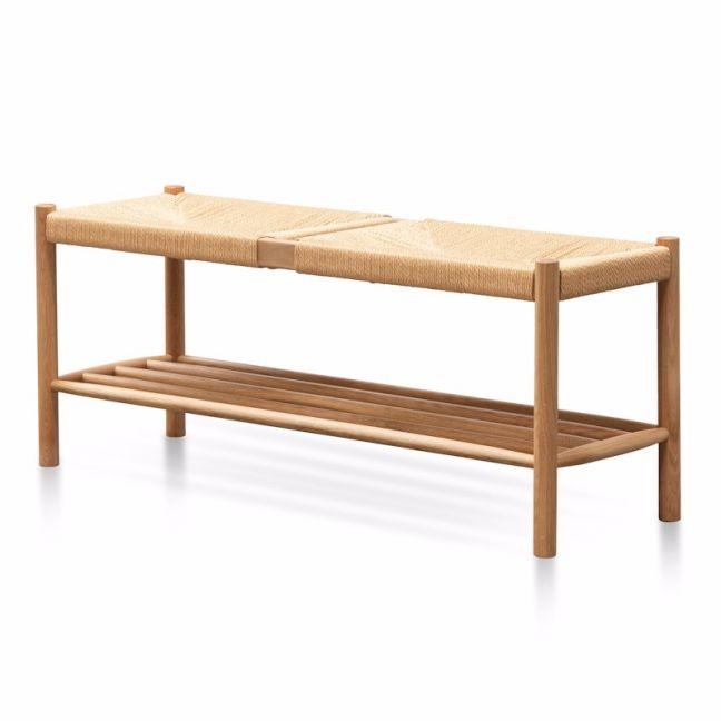 Erika 110cm Oak Bench - Natural Seat