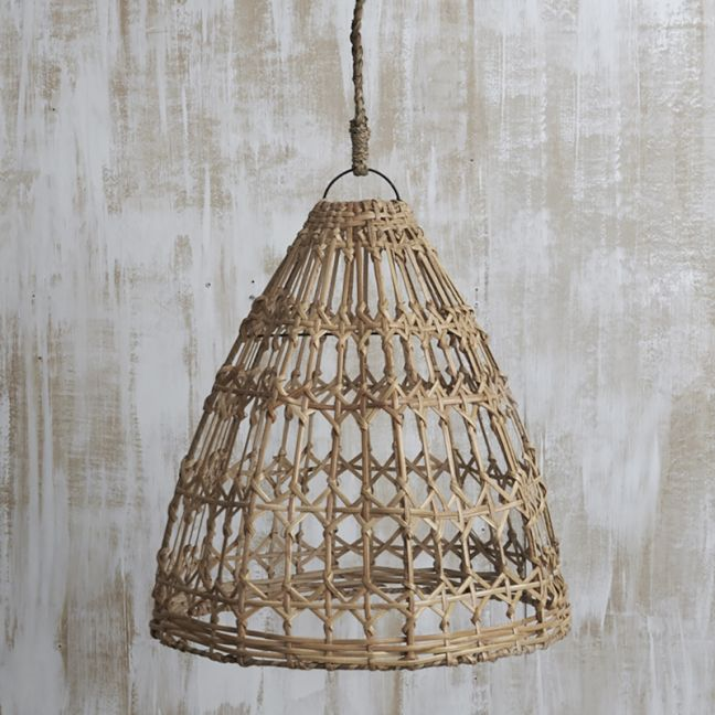 Esher Handwoven Flat Rattan Natural Light Shade l Pre Order