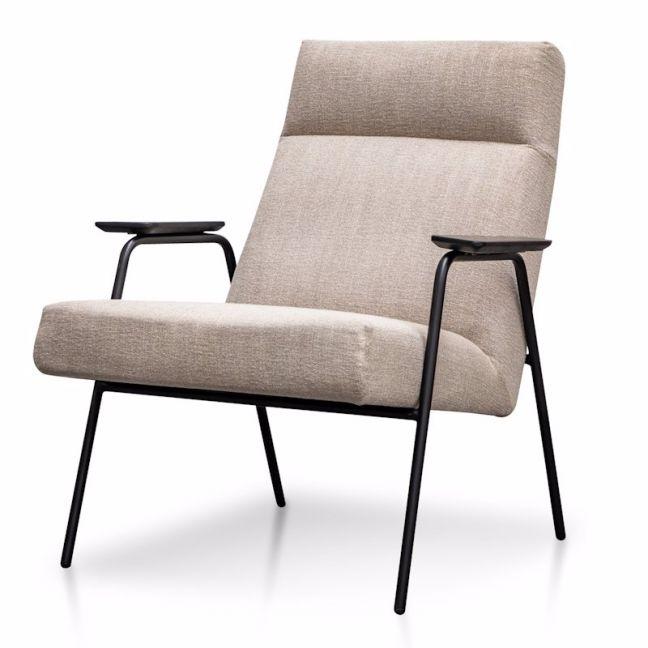 Essie Fabric Armchair in Sand Grey   Black