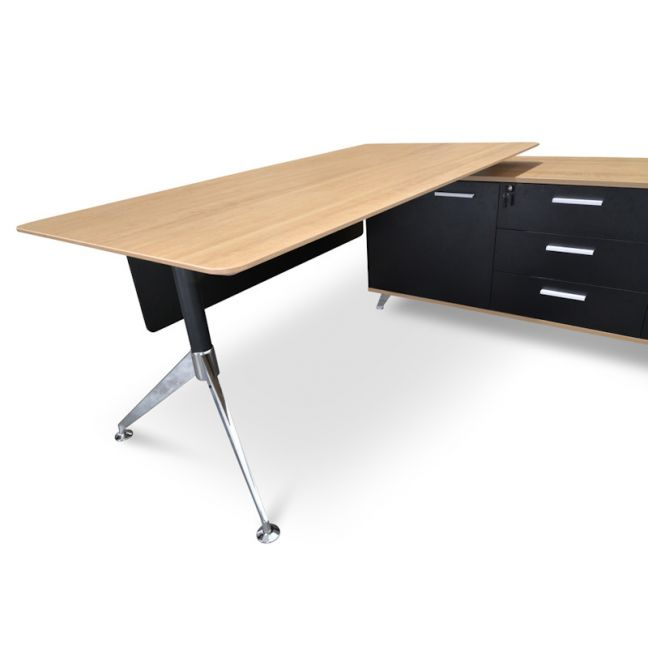 Excel 1.95m Executive Desk Right Return | Black Frame With Natural Top and Drawers