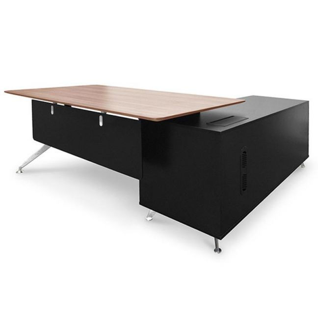 Excel Executive Office Desk with Left Return | Walnut & Black