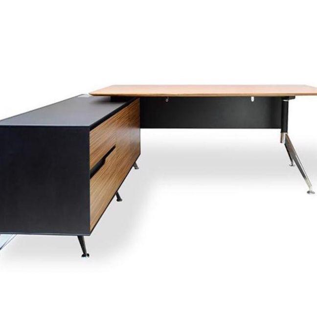 Excel Executive Office Desk with Left Return   Zebra Oak
