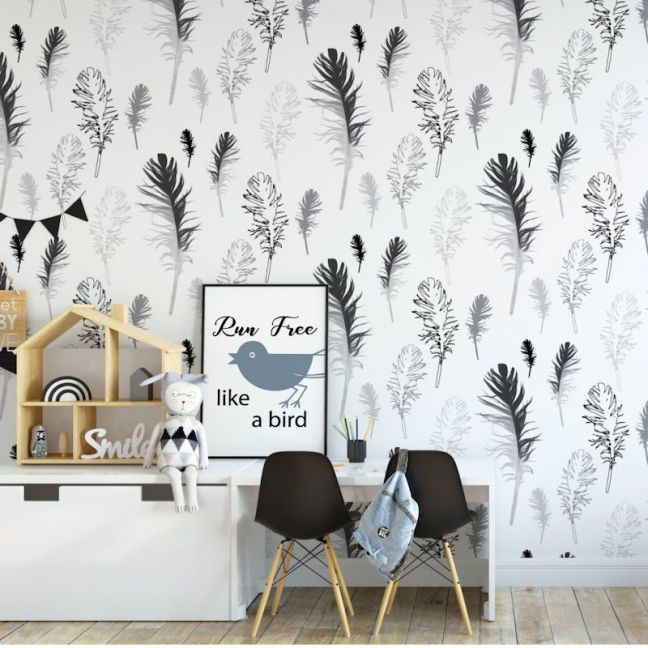 Feathered Friends - Nature's Child | Eco Wallpaper | Charcoal | Amba Florette