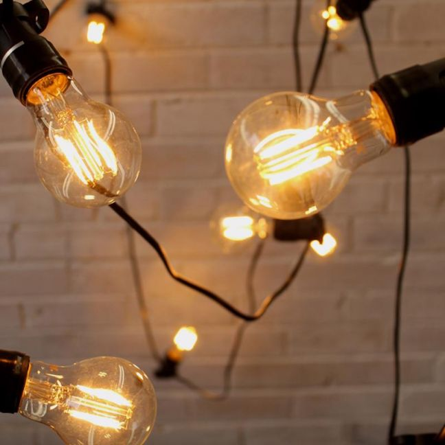 Festoon Lighting | Outdoor String Lights | 10 Metres with LED A60 Round 4W