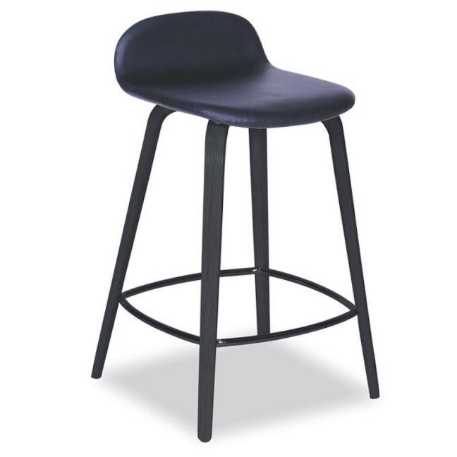 Flip Kitchen Counter Stool | Black American Ash | Upholstered Black Seat Pad