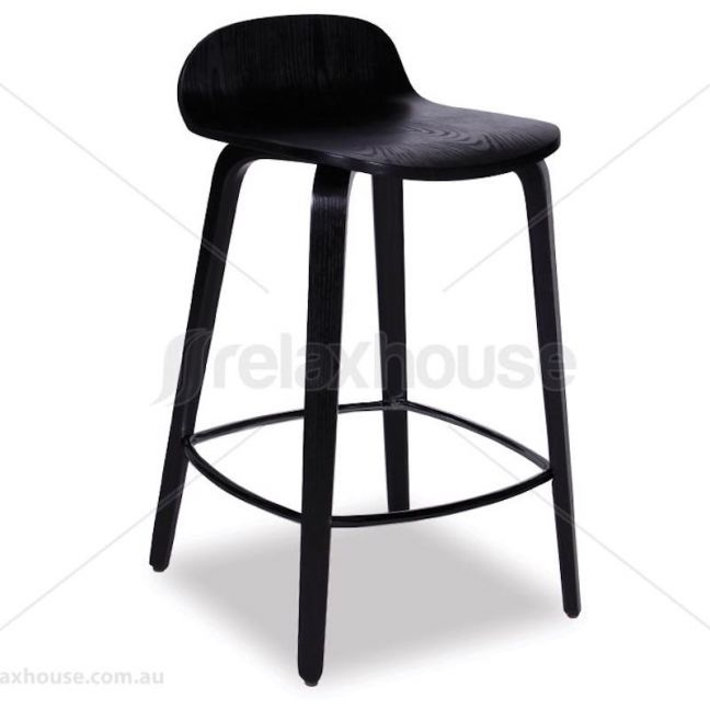 Flip Kitchen Counter Stool | Black Stained American Ash Seat and Legs