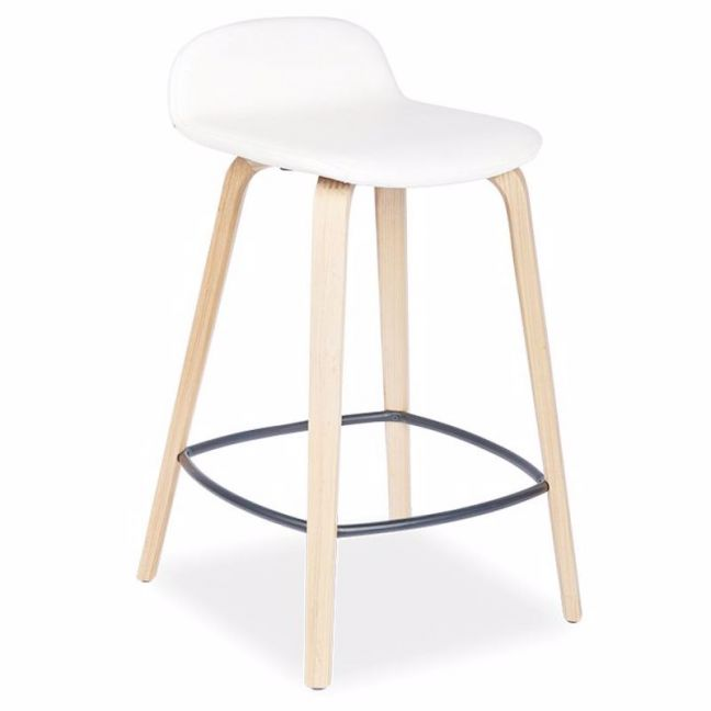 Flip Kitchen Counter Stool | Natural American Ash | Upholstered White Seat Pad