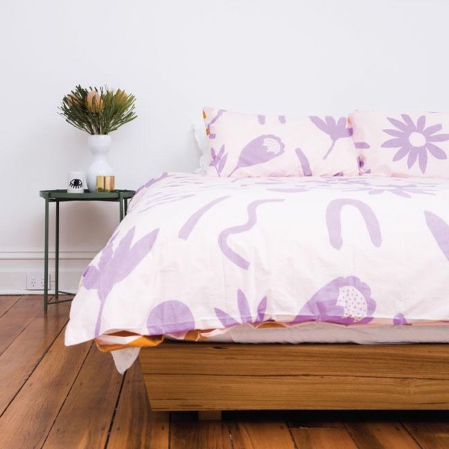 Floral Dreams Quilt Cover Set | Lavender & Mustard | Various Sizes
