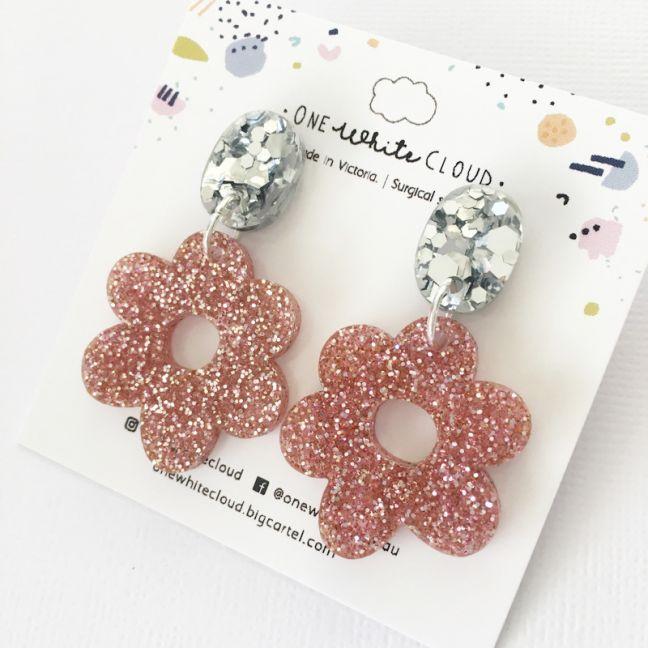 Flower Glitter Earrings by One White Cloud