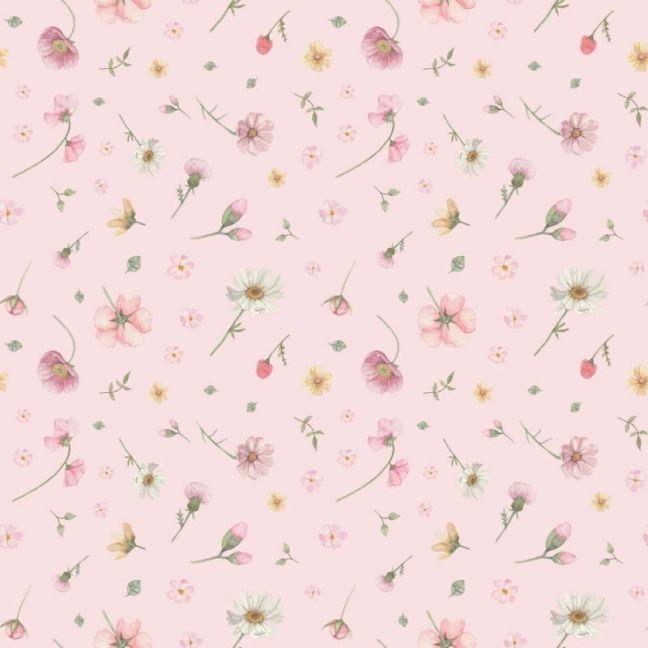 Flower Wall Pink Wallpaper