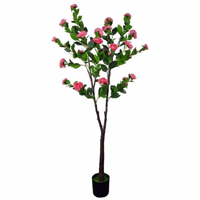 Flowering Natural Pink Artificial Camellia Tree   180cm