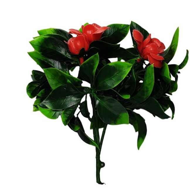 Flowering Red Rose Stem UV Resistant 30cm
