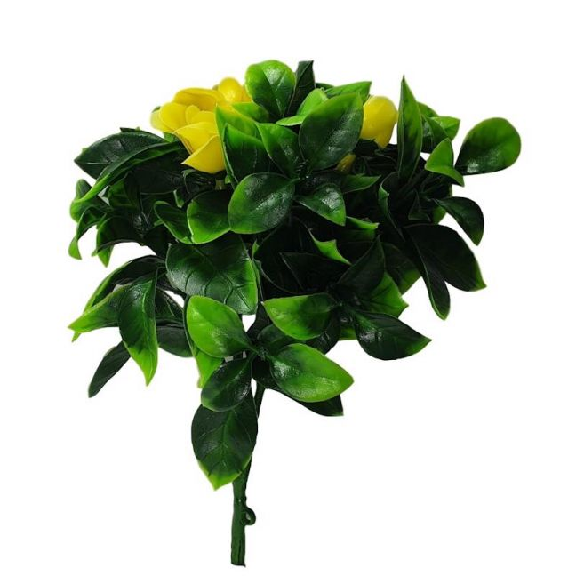 Flowering Yellow Rose Stem UV Resistant 30cm